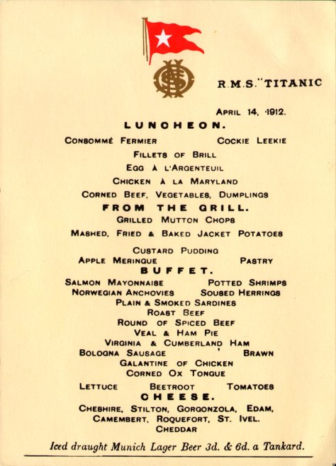Titanic Menu Card