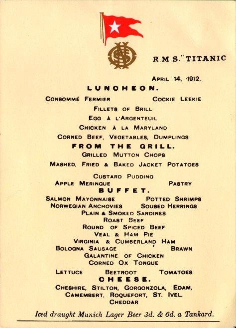 Titanic Menu Card