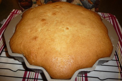 Honeycomb cake out of oven image