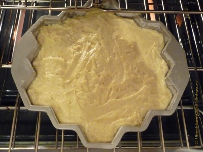 Honeycomb cake going into oven image